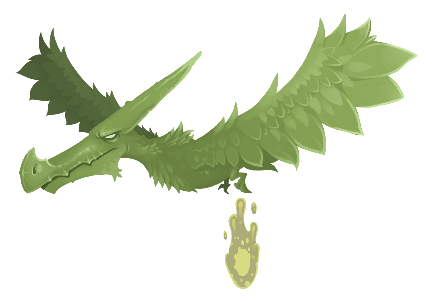 An illustrated green pteradactyl lays a devastating egg
