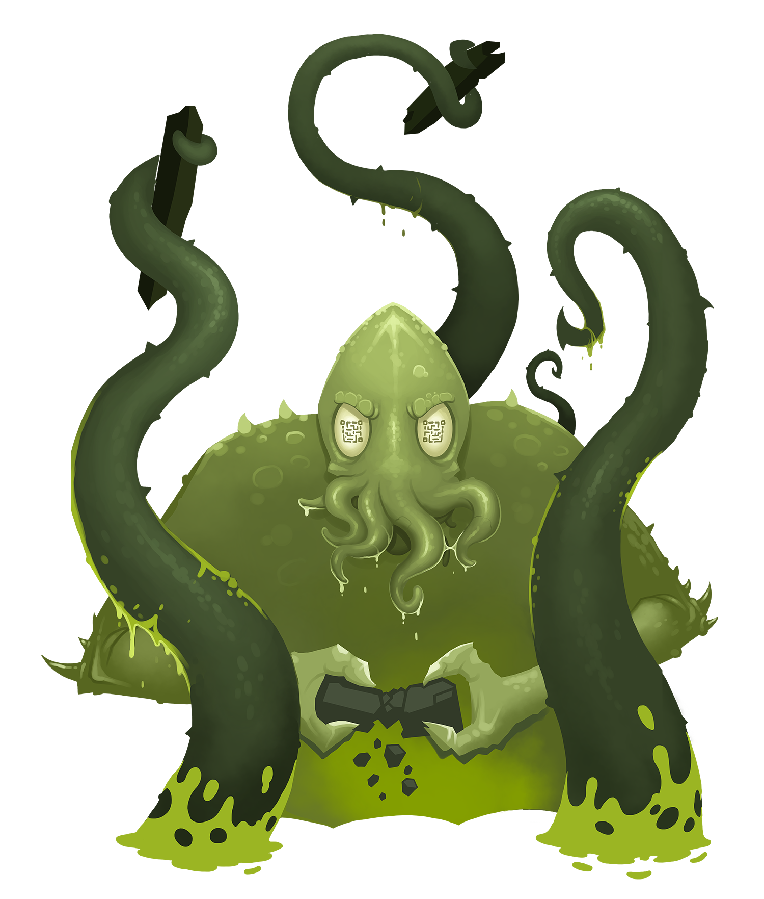 A multi-tentacled illustrated monster rips apart a city.
