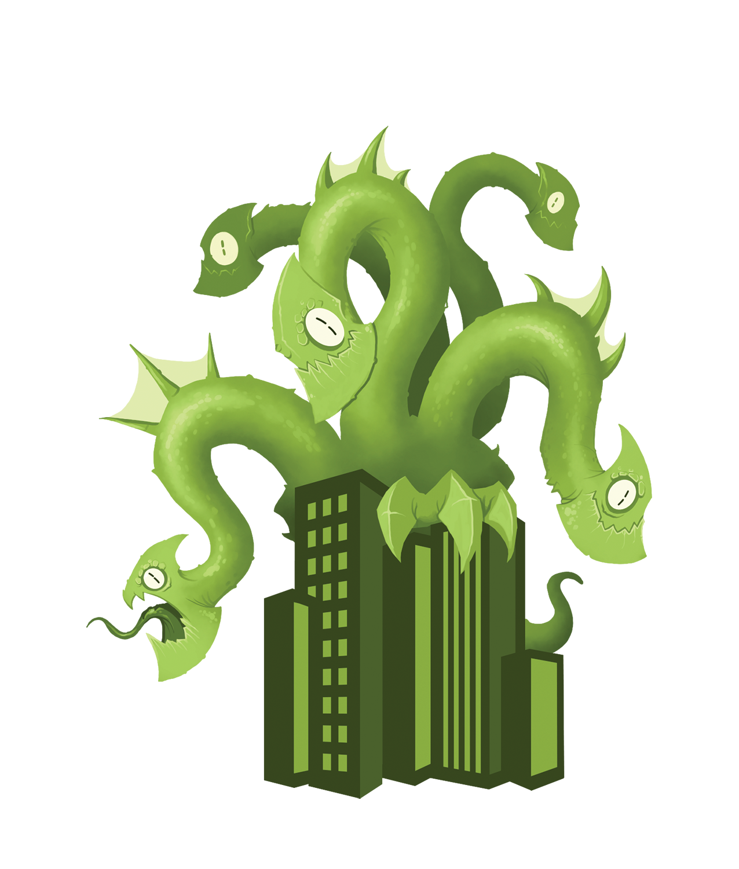 An illustrated multi-headed monster dwarfs the city skyline