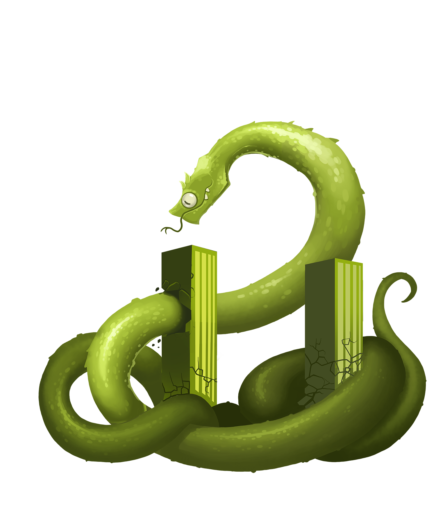 A giant illustrated green snake tears through a building.