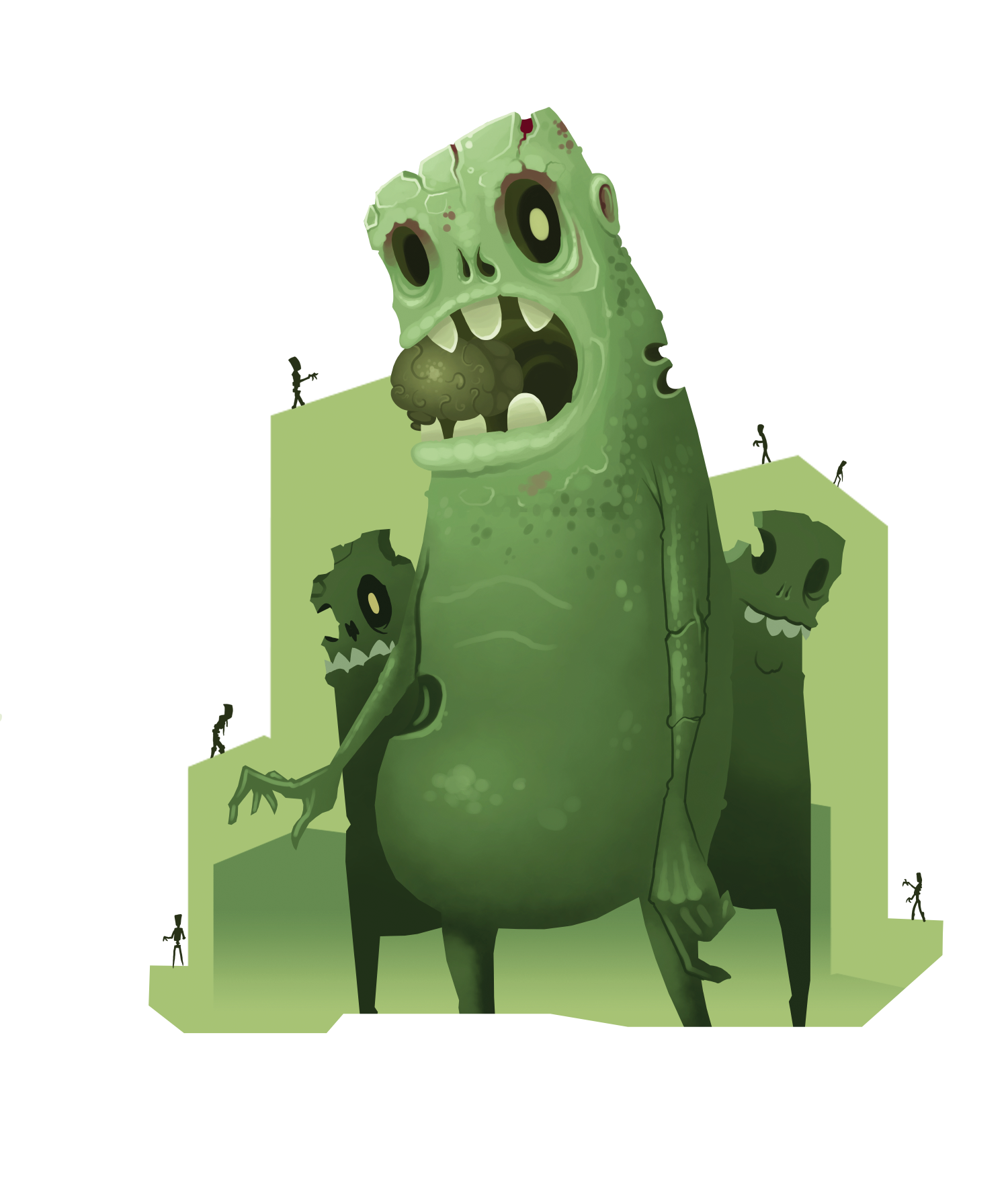 A green illustrated group of zombies